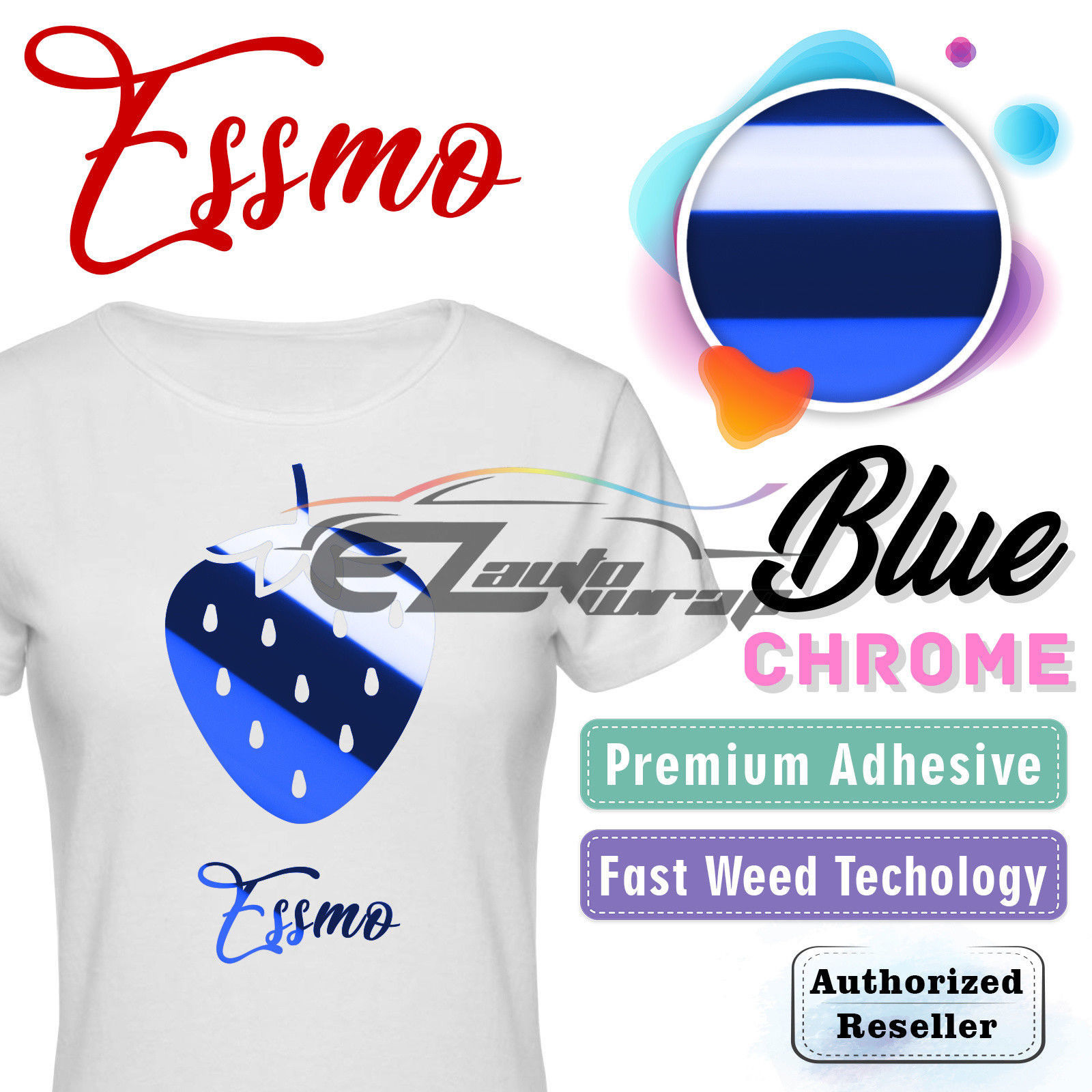 "ESSMO Blue Chrome Heat Transfer Vinyl HTV Sheet T-Shirt 20"" Wide Iron On Heat Press 20""x12"""