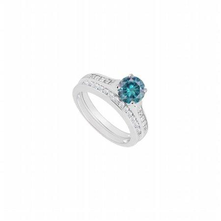 14K White Gold Blue & White Diamond Engagement Ring with Wedding Band Set, 0.75 CT - Size 4.5