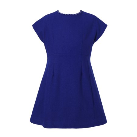 Richie House Girls' Short Sleeve Wool Dress with Pearls RH2178](Navy Pinup Girl)
