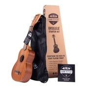 Learn To Play Official Kala Ukulele Starter Kit with FREE, full access, 1-Month subscription to lessons on the Kala App. Ukulele Starter Kit also comes with Bag & Booklet