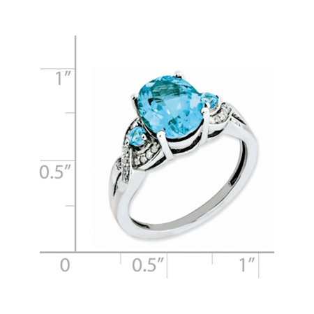 Sterling Silver Rhodium Diamond & Blue Topaz Ring - image 1 of 2