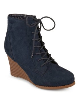 bb7ea79ccb7f Product Image Womens Lace-up Faux Suede Stacked Wedge Booties