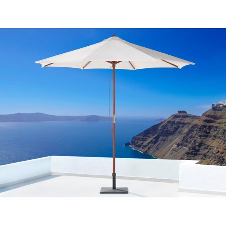 Solid Wood Pole - Modern Outdoor Umbrella Beige Polyester Canopy Solid Wood Pole String Mechanism Toscana