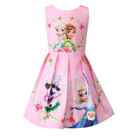 Kids Girls Frozen Anna Elsa Princess A-Line Sleeveless Mini Party Dress (Princess Kate Dress)