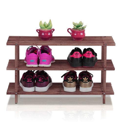 Wildon Home  Pine Solid Wood 3-Tier Shoe Rack