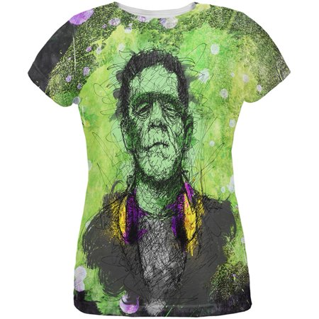 Halloween Frankenstein Raver Horror Movie Monster All Over Womens T Shirt (Halloween Horror Nights Shirts)