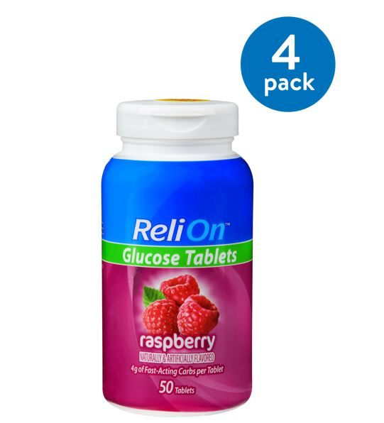 (4 Pack) ReliOn Raspberry Glucose Tablets, 50 Ct