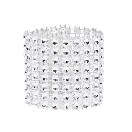 50/100pcs 8 Rows Chair Sash Napkin Rings  Diamond Mesh Wrap Ribbon For Wedding Christmas Hot, Wedding Napkin Rings, Xmas Napkin Ring ()