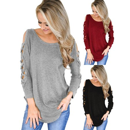 Women's Fashion Pullover Femme Blouses Solid Color Cotton Top Loose Sexy Off Shoulder T Shirts (Femme Fatale Outfits)