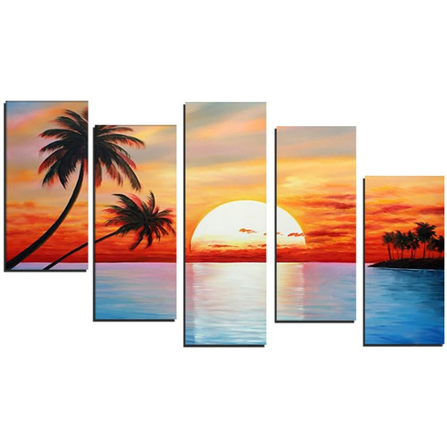 Design Art Tropical Sunset 5 Piece Painting on Canvas Set