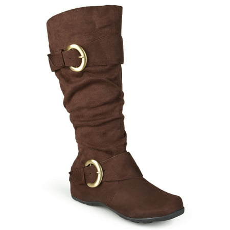 Brinley Co. Women's Extra Wide Calf Mid-Calf Slouch Riding Boots