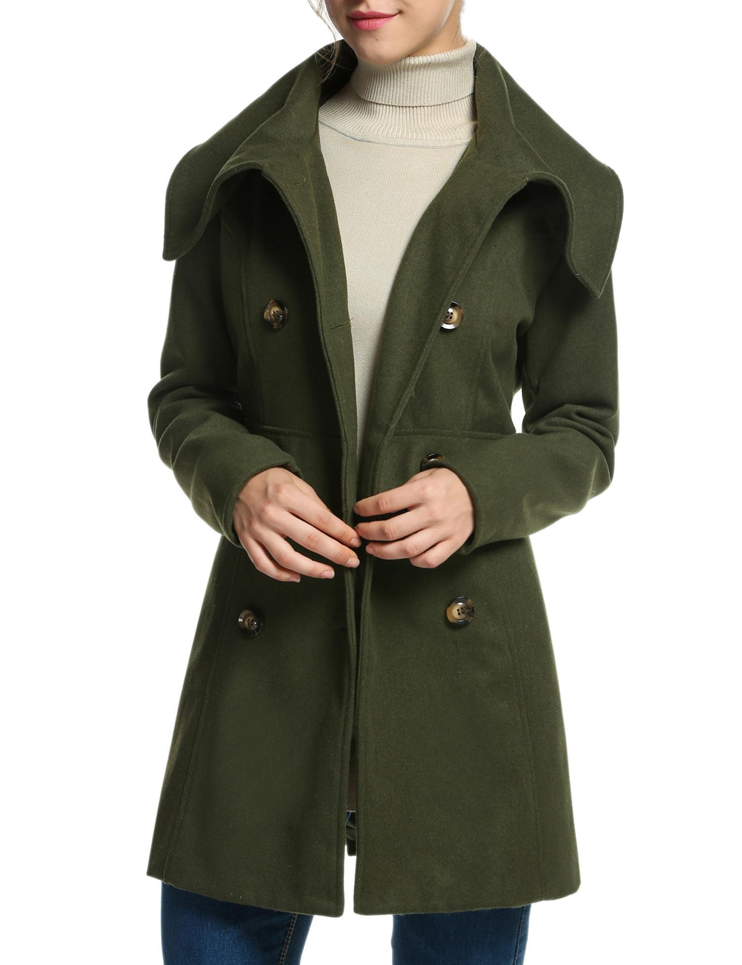 Lady Woman Winter Coat Long Sleeve Notched Lapel Trench Jacket Wool Blend by Womens Wool Coats