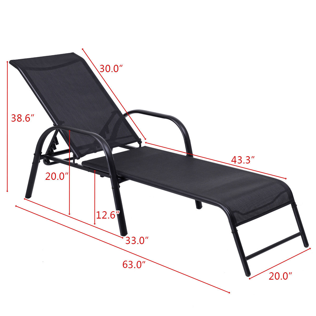Goplus Outdoor Patio Chaise Lounge Chair Sling Lounges Recliner Adjustable Back - image 7 of 9