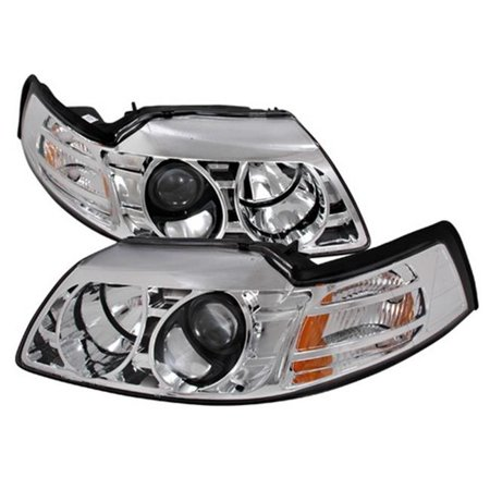 Spec-D Tuning 2LHP-MST99-KS Halo Projector Headlights for 99 to 04 Ford Mustang, Chrome - 28 x 18 x 13 in. - image 1 of 1