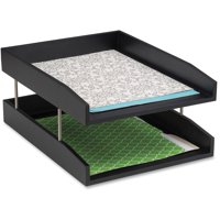 Safco, Wood Double Letter Tray, 1 Each, Black