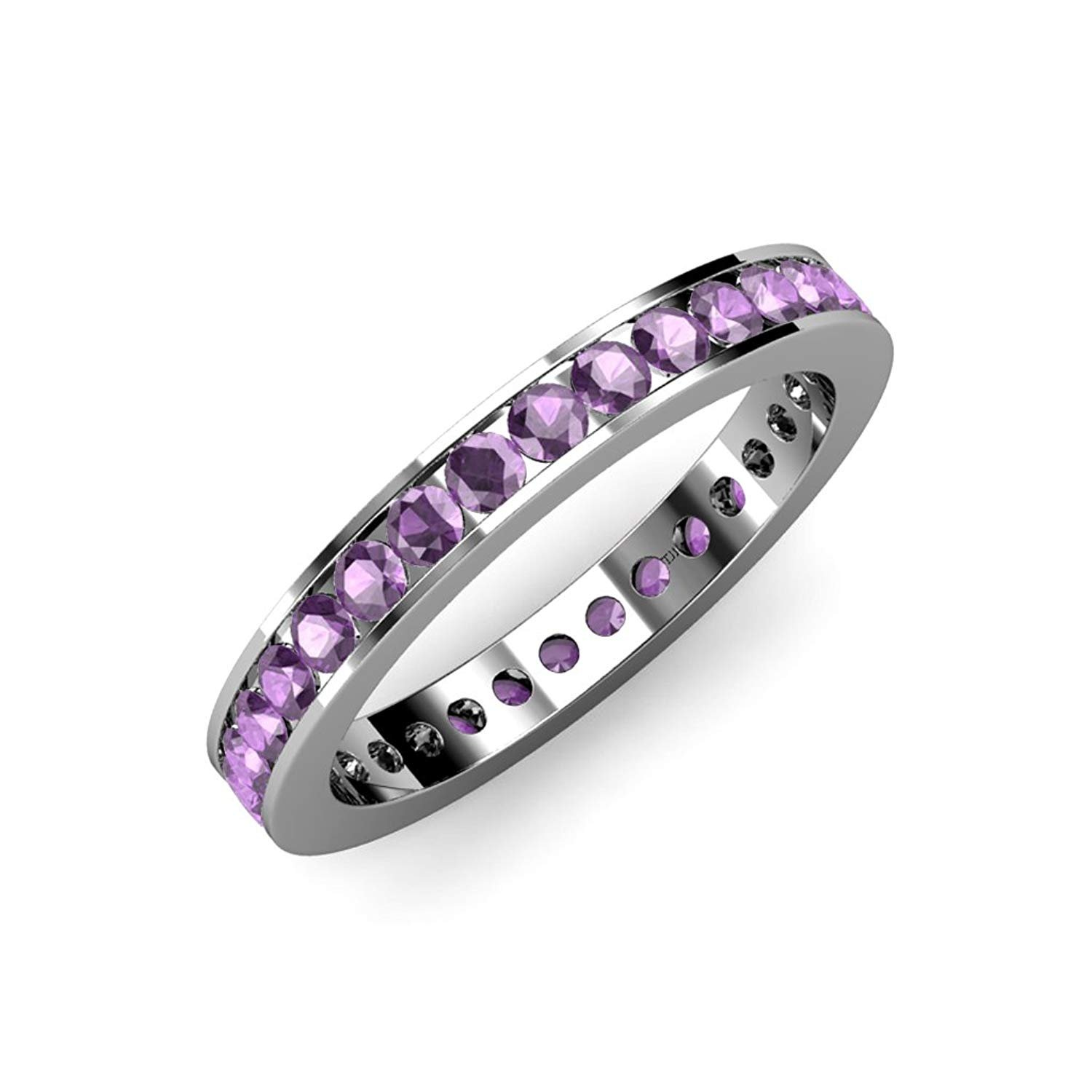 Amethyst Channel Set Eternity Band 1.21 ct tw to 1.42 ct tw in 18K White Gold.size 8.0 by TriJewels