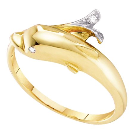 10kt Yellow Gold Womens Round Diamond Dolphin Fish Animal Wrap Ring .03