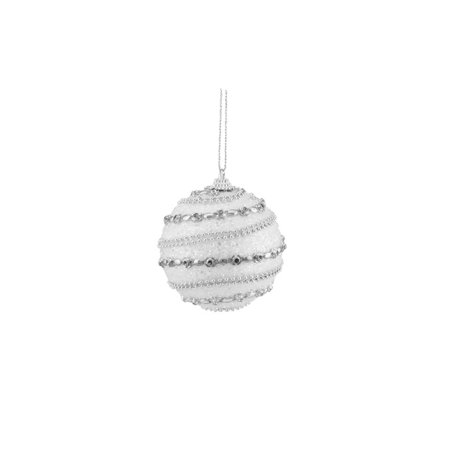 3ct White and Silver Beaded Shatterproof Christmas Ball Ornaments 3