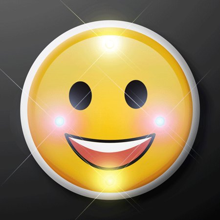Classic Face Emoji Light Up LED Party Pin by Blinkee - Pin Up Lights