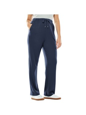 0b714505 Product Image Woman Within Plus Size Petite Sport Knit Straight Leg Pant