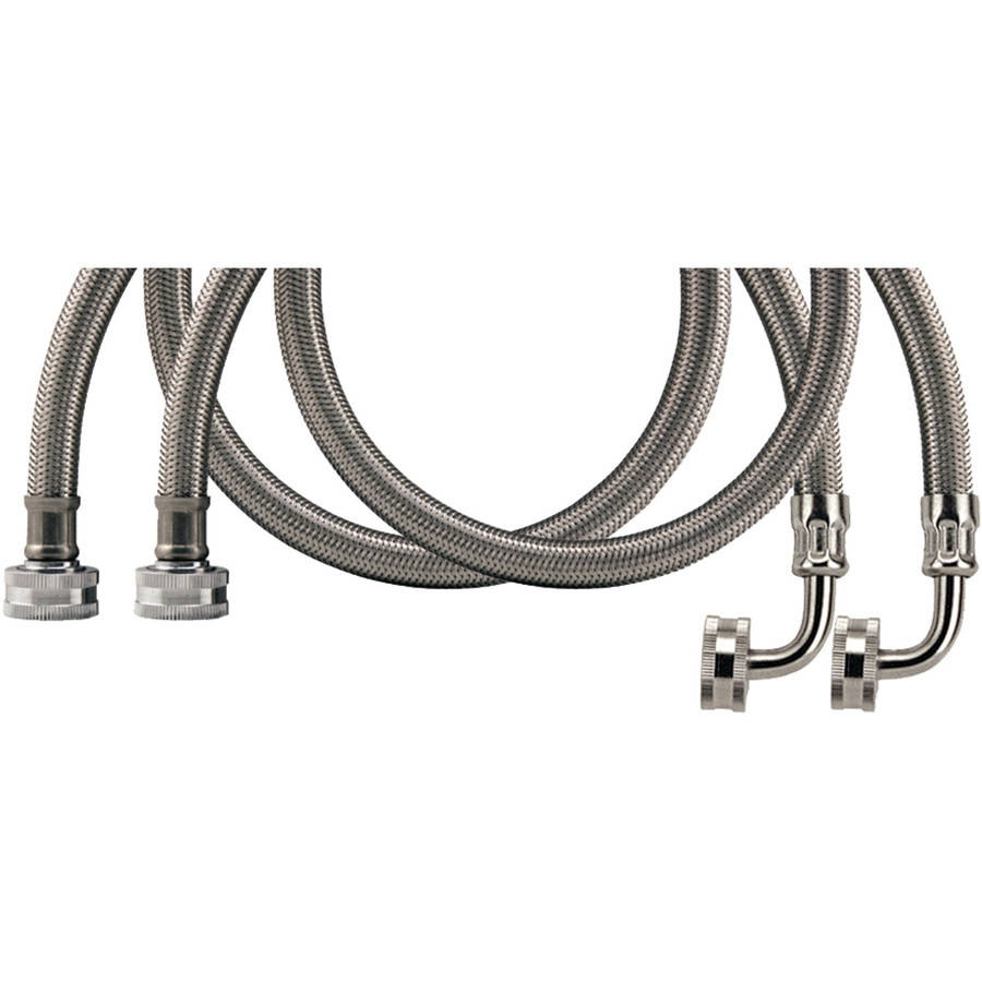 Certified Appliance Wm48ssl2pk Braided Stainless Steel Washing Machine Hose With Elbow, 2-Pack, 4'