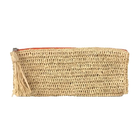 Mar Y Sol Emily Crochet Raffia Tassel Slim Clutch,