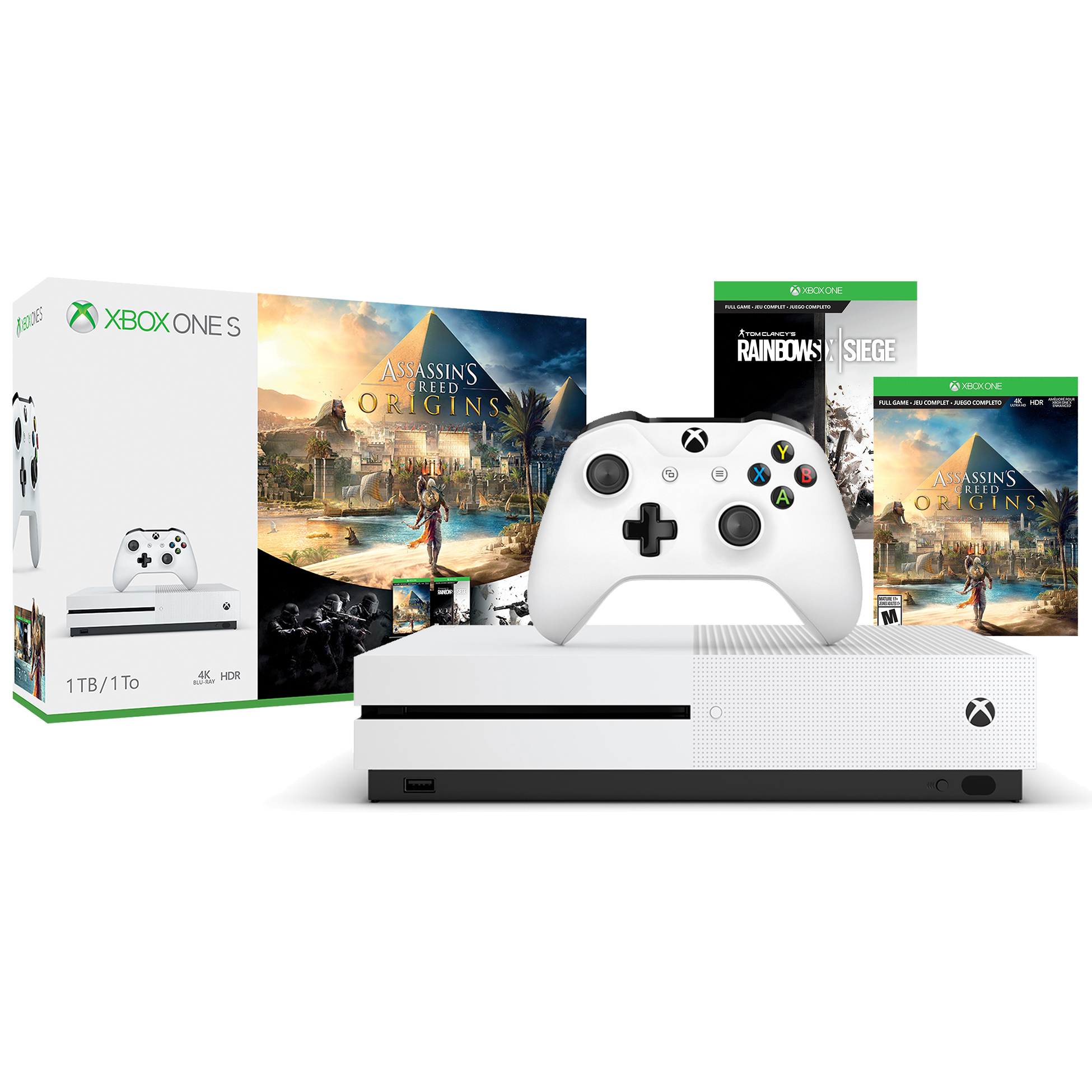 Microsoft Xbox One S 1TB Assassin's Creed® Origins Bonus Bundle, White, 234-00226