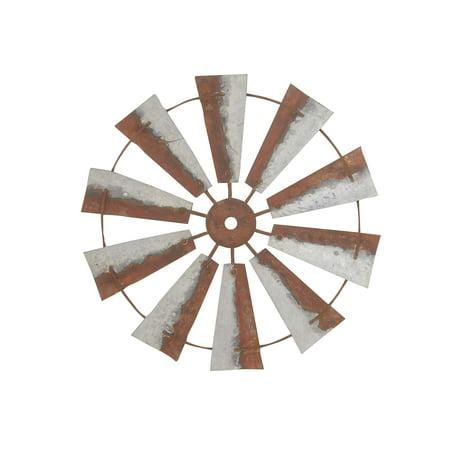 Brown Wheel - Decmode Farmhouse 30 Inch Distressed Brown Iron Wheel Wall Decor, Brown