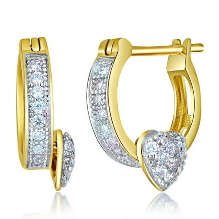 Wellingsale Ladies 14k Yellow Gold Polished 2mm Heart CZ Hoop Huggies Earrings (10 x 10 mm)