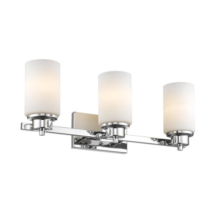 CHLOE Lighting SCARLETT Contemporary 3 Light Chrome Finish Bath Vanity Light Etched White Glass 22