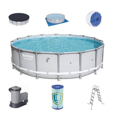 Bestway 18 x 4.3 ft Reinforced Power Steel Frame Above Ground Swimming Pool Set