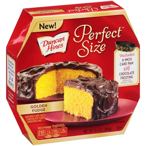 Duncan Hines® Perfect Size™ Golden Cake Mix & Chocolate Fudge Frosting Mix 9.4 oz. Box