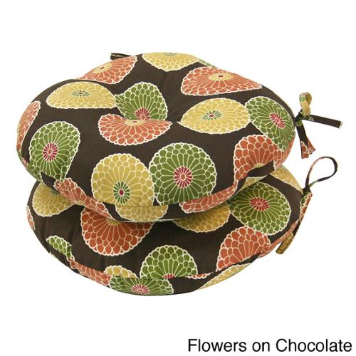 18-inch Round Contemporary Outdoor Bistro Chair Cushion (Set of 2) Flowers on Red
