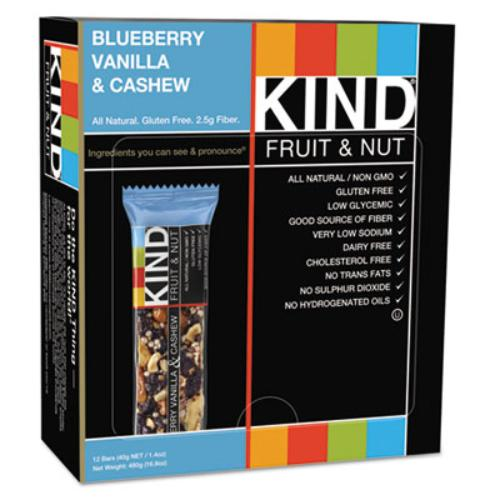 Kind Snacks 18039 Fruit And Nut Bars, Blueberry Vanilla And Cashew, 1.4 Oz Bar, 12/box