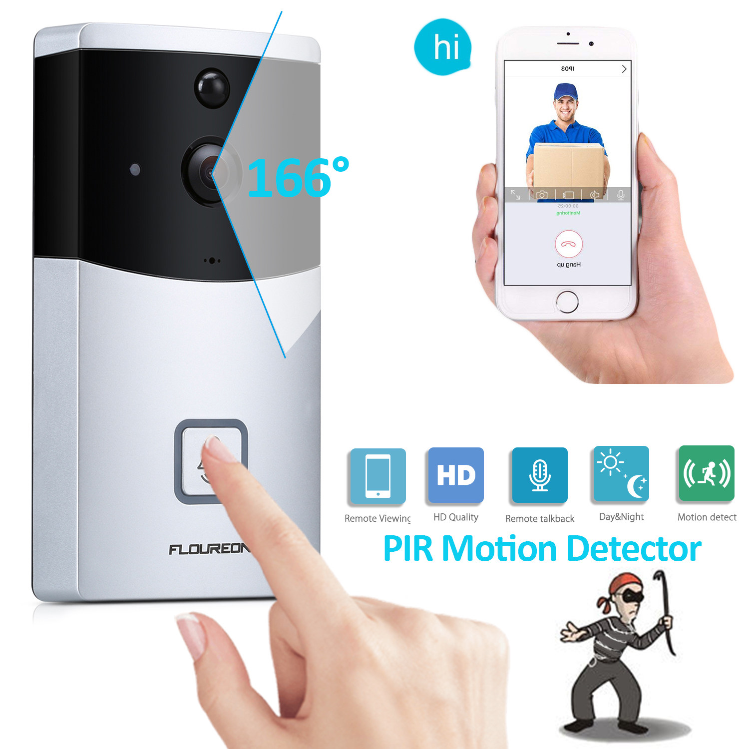 Home Door Ring WiFi Wireless Visual Camera,Night Vision Camera Doorbell Smart Doorbell Security Monitor