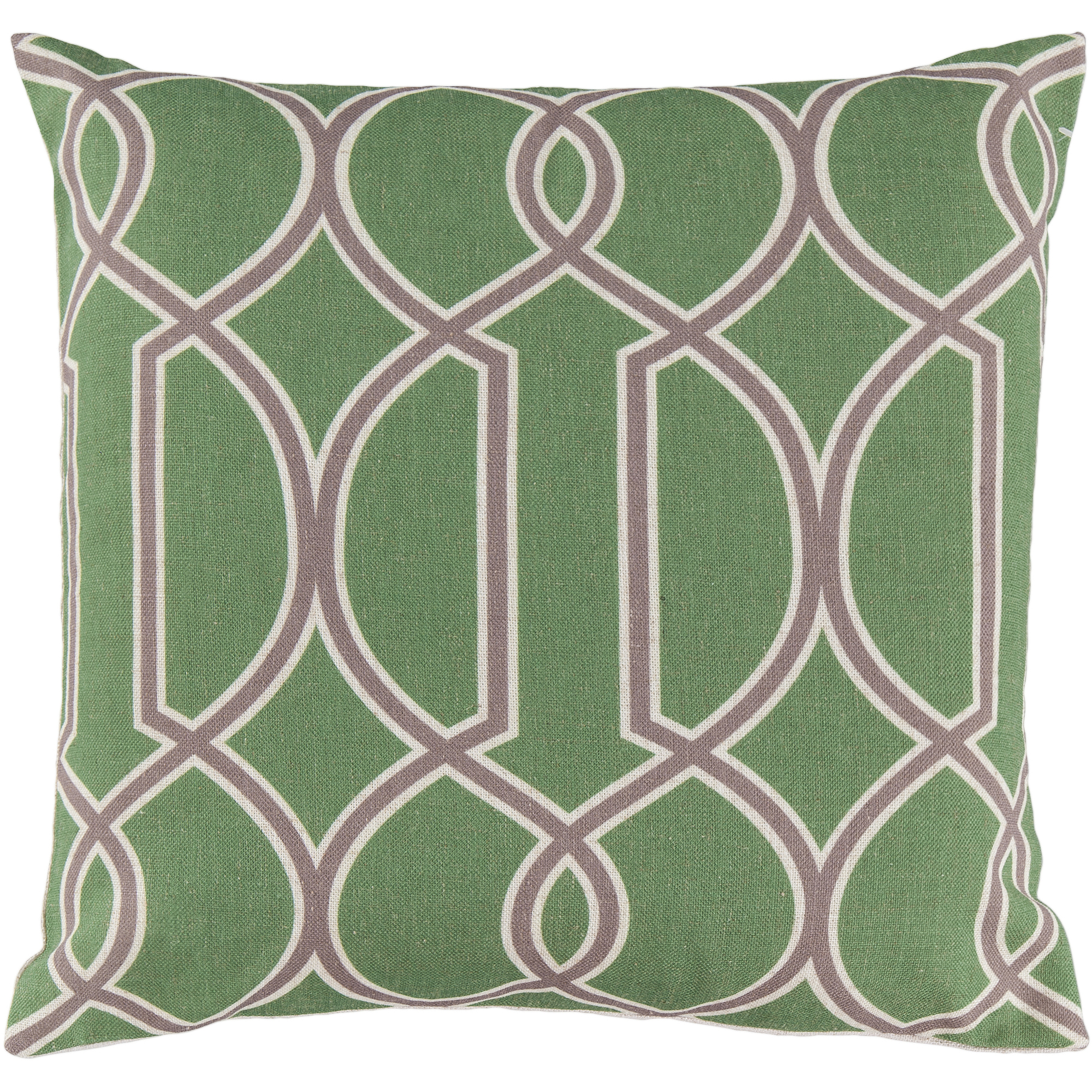 Art of Knot Bentley Hand Crafted Geometric Trellis Decorative Pillow with Poly Filler, Lime