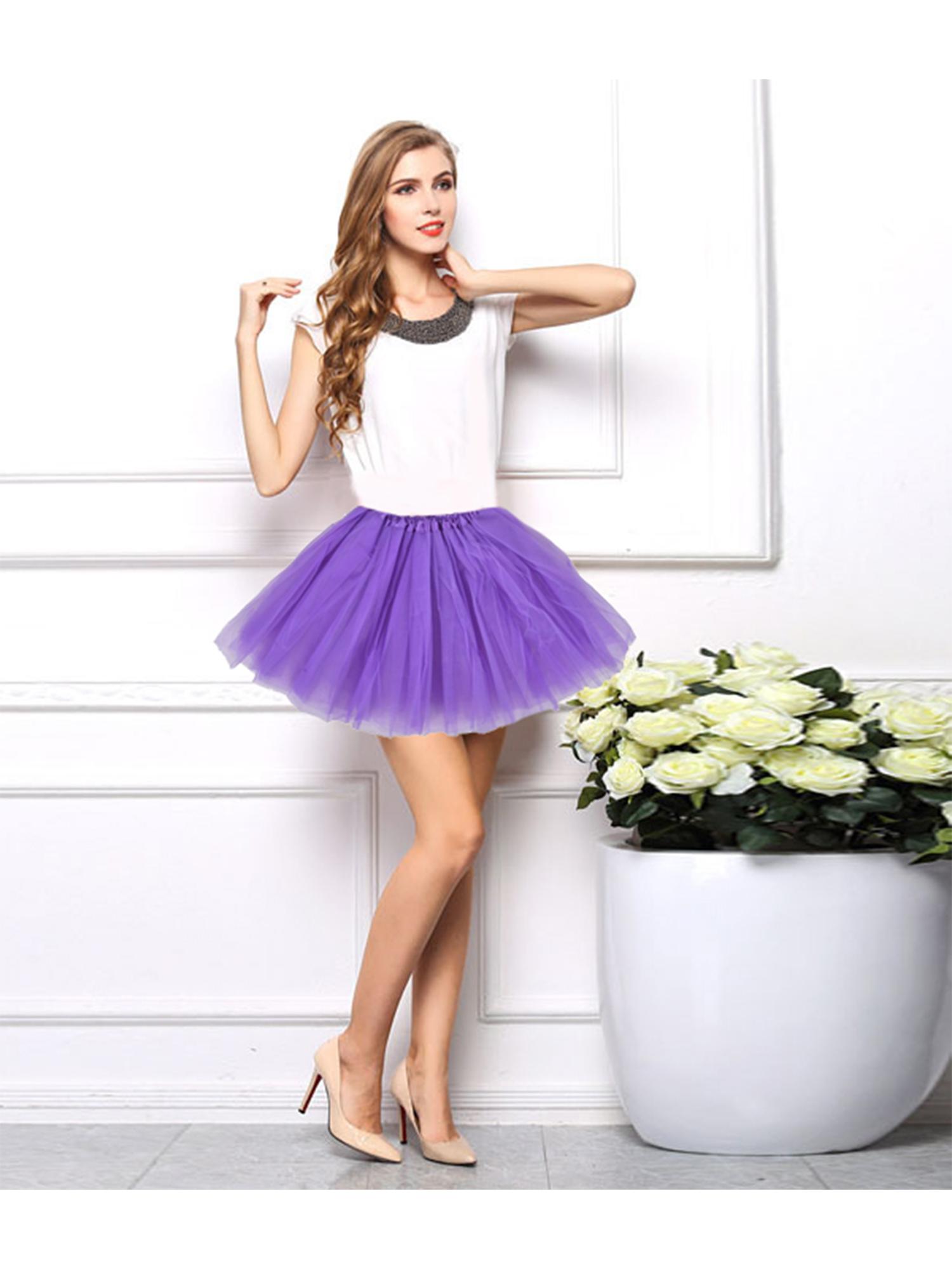 Mardi gras tulle tutu skirt hi low three tier purple green yellow adult carnival