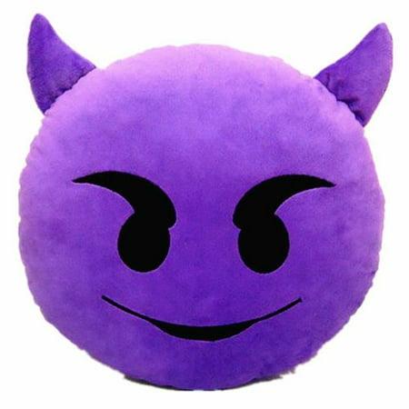 "PURPLE DEVIL PLUSH & PLUSH® TM 12"" Inch / 30cm Large Emoji Pillows Smiley Emoticon Soft Plush Stuffed Yellow Full Collection Cushions (USA SELLER)"