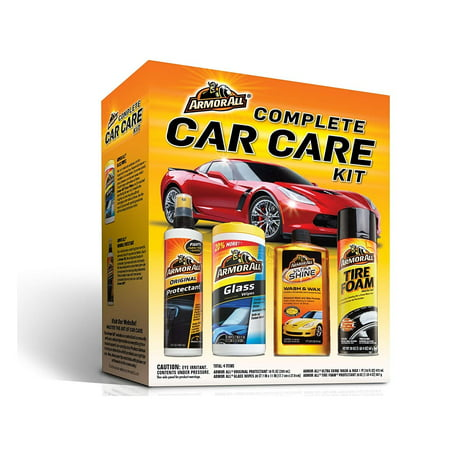 Armor All 13703C Complete Car Care Kit (4 Items) - 2pc Interior Bundle with Glass Cleaner & Protectant, Ultra Wax & Wash Soap and Tire Shine Wheel Cleaner Foam