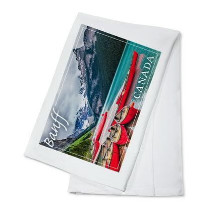Canadian Dish (Banff, Canada - Lake Louise Canoes - Lantern Press Photography (100% Cotton Kitchen Towel) )
