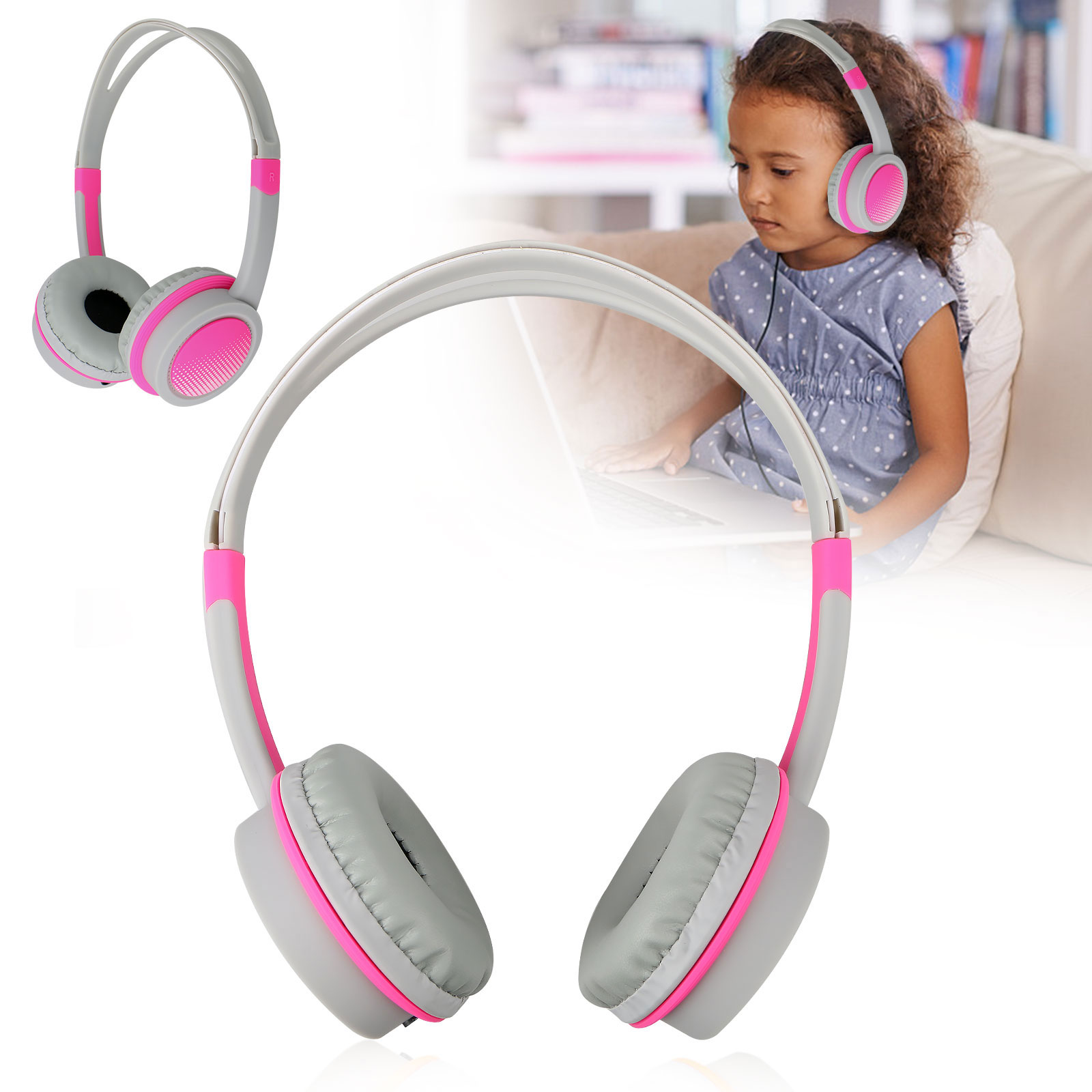 3.5mm Wired Kids Children Headphones Headsets Child School Earphone Compatible with Cell Phones iPad Tablets PC Computer MP4 MP3
