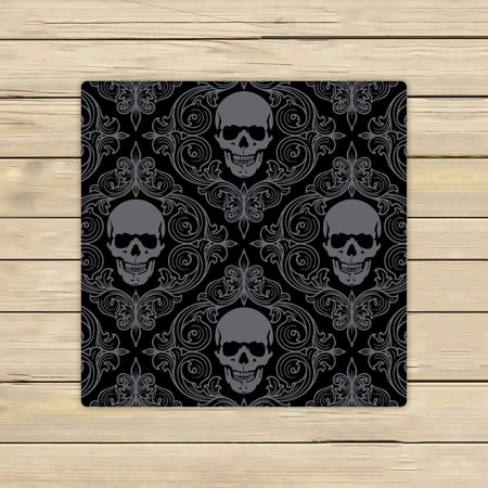GCKG Dark Balck World Design Skull With Lacy Pattern Beach Towel Shower Towel Wrap For Home and Travel Use Size 13x13 inches