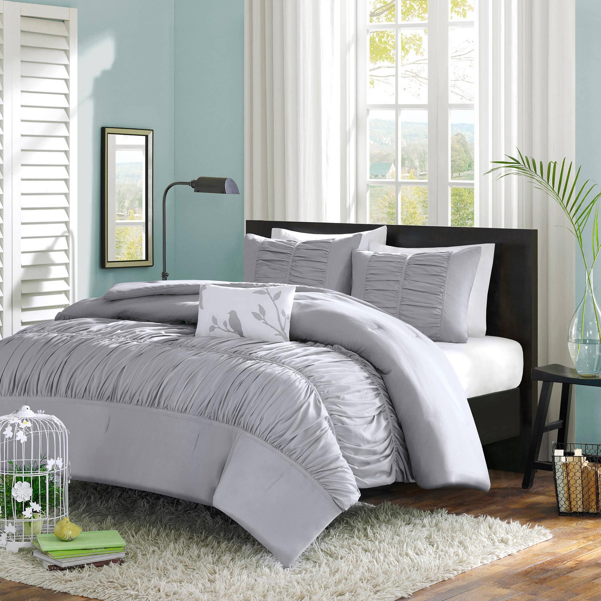 3pc Down Alternative Reversible Comforter Set Grey And Black King Size