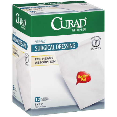 "Curad Site-Pad Surgical Dressings, 5"" x, 9"", 12ct"
