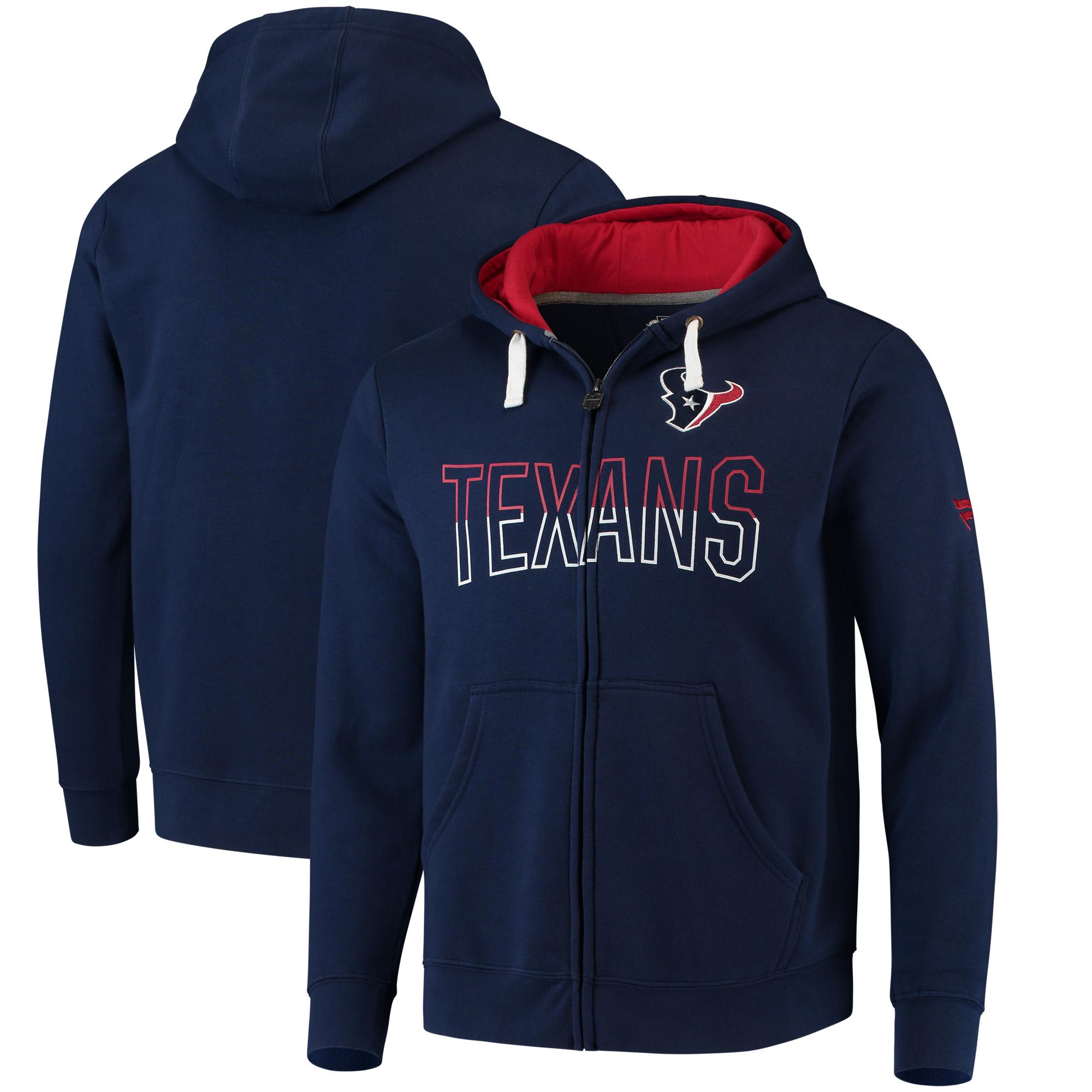 Men's NFL Pro Line by Fanatics Branded Navy Houston Texans Iconic Fleece Full-Zip Hoodie