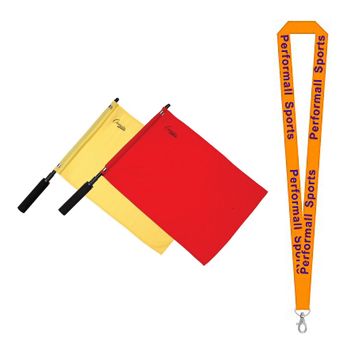 Champion Sports Bundle: (1-Pair) Soccer Official Solid Flag Red / Yellow with 1 Performall Lanyard LF1-1P