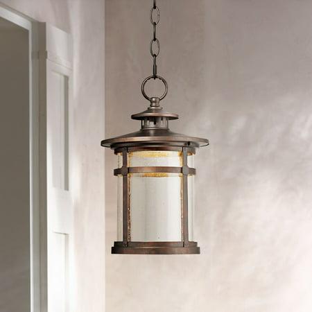 Franklin Iron Works Rustic Outdoor Ceiling Light Hanging Lantern LED Bronze 13 1/2