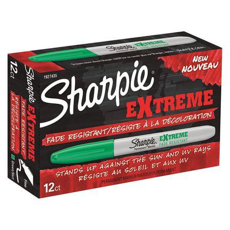 SHARPIE Permanent Marker,Grn,Fine,Waterprf,PK12 1927435