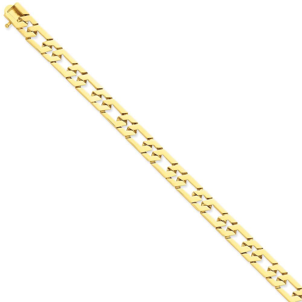14k Yellow Gold 8in 8mm Hand-polished Fancy Link Chain Bracelet