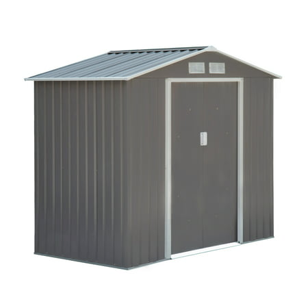 Outsunny 4' x 7' Outdoor Metal Garden Shed Utility Tool Storage, Steel Backyard House with Sliding Door, Gray and White